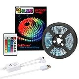 LEDテープ 防水 RGB 照明 LEDライト USB 音楽 SMD 5050 高輝度 高品質LEDテープライト 音に反応サウンドセンサー内蔵 IRリモコン操作 フルカラー カット可能 2m DC/5V 両面テープ 間接照明 正面発光 ledイルミネーション