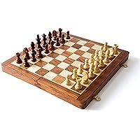 木製磁気トラベルチェスセットwith Stauntonピースand Foldingゲームボード10