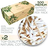 Premium 500 Biodegradable Bamboo Cotton Swabs | Compostable Wooden Ear Sticks | Zero Waste Disposable Products | Plastic Free Makeup Swab | Safety Organic Buds for Eye Cleaning | Eco Friendly Utensils
