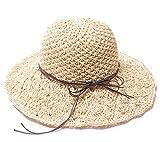 YUTTALIA(ユッタリア) 麦わら帽子 ソフトタイプ 頭囲調整機能あり 折りたたみ可能 レディース ナチュラル 収納袋付