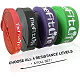 TheFitLife Resistance Pull Up Bands - Pull-Up Assist Exercise Bands, Long Workout Loop Bands for Body Stretching, Powerlifting, Fitness Training, Bonus Carrying Bag and Workout Guide