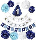 BABY tree バースデー デコレーション セット 1歳 2歳 3歳 誕生日 飾り (1歳 ブルー)