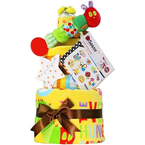 はらぺこあおむし おむつケーキ 出産祝い 名入れ刺繍 3段 Sassy ビタット Bitatto オムツケーキ 男の子 女の子 ERIC CARLE エリックカール (パンパーステープタイプSサイズ)