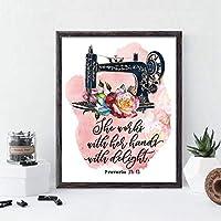 ヴィンテージ縫製引用ポスターとプリントキャンバス絵画ママギフトホームウォールアートインテリア-50×70センチ×1個フレームなし
