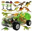 特殊ケース型 リアル 恐竜 フィギュア セット 子供 おもちゃ 古代 生物 爬虫類 人形 ミニ 模型 玩具 迫力 ダイナソー トリケラトプス ブロントサウルス ティラノサウルス (車型 クリア(透明))