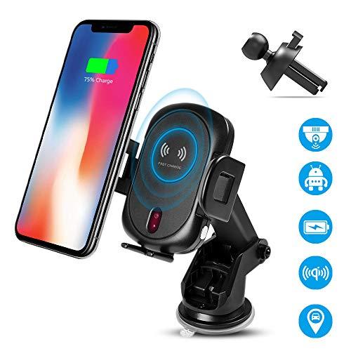 ワイヤレス車載充電器 Qiワイヤレス車載ホルダー 赤外線センサー 360度回転 GPS機能 急速充電 吸盤ホルダー クリップ吹き出し口2種類取り付 無線充電器 チャージャー スマホスタンド iPhone X/XR/XS/XSMAX/8/8 Plus/Galaxy S9/S8/S8 Plus/S7/S7 Edge/S6/S6 Edge/Note 8/Note 5/Nexus 5/6 多機種対応