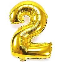 風船2数字パーティー誕生日結婚式飾り物アルミゴールドバルーン40インチ超巨大(0-9)J002