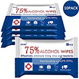 Alcohol Wipes (10 Packs, 100 Wipes), Disposable Large Wet Wipes, 75% Soft Alcohol Wipes Hand Wet Wipes Travel Portable (Easy to Carry)