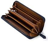[レガーレ] カーボン レザー カード18枚収納 ガバッと開いて使いやすい 長財布 10色(オリジナル化粧箱入り) (カーボンブルー×ブラウン)