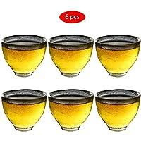 Amycute 湯呑み 煎茶碗 ティーカップ 耐熱ガラス 茶器 シンプル ハンマーテクスチャー 70ml/45ml 6個セット (45ML)