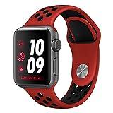 ナイキ スポーツ Desertwest Apple Watch バンド アップルウォッチ ベルト 柔らかシリコンNike+/Apple Watch Series 3/Apple Watch Series 2/Apple Watch Series 1対応 スポーツ 交換バンド(38mm, 赤+黒)