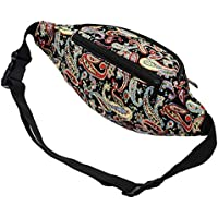 Kayhoma 2 Zippers Boho Fanny Pack Festiva Hobo Bum Bags Travel Waist Belt Purse
