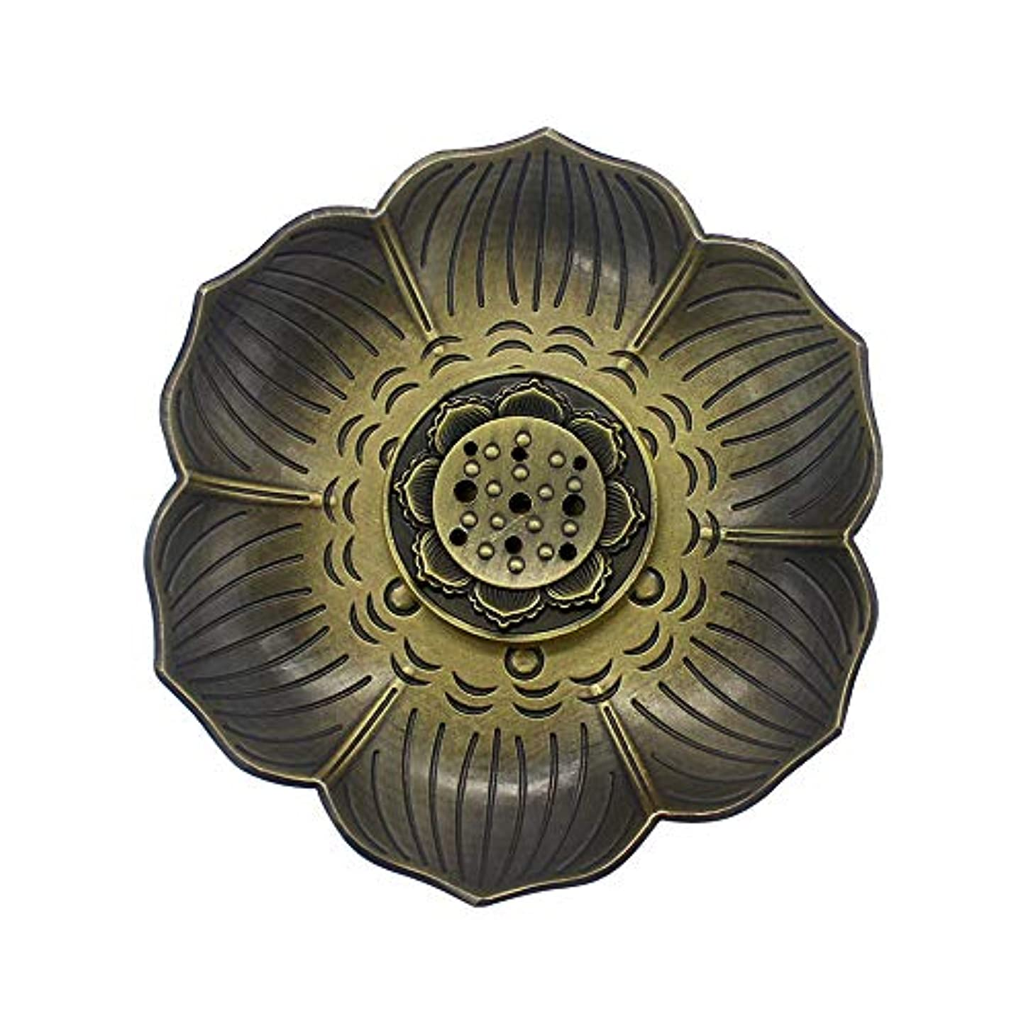 精神的に熟読クリープMyLifeUNITブロンズLotus Incenseホルダー、多目的香炉お香の円錐、またはコイル
