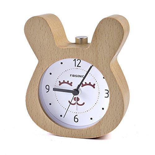 FiBiSonic 目覚まし時計 アナログ 大音量 置き時計 連続秒針 音無し アラーム スヌーズ 照明ライト付き 木製 電池式 小型 かわいい キャラクター ウサギ S712(ナチュラル)