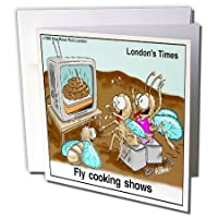 Londons Times Funny Bugs and Slugs Cartoons – Fly Cooking Shows – グリーティングカード Set of 6 Greeting Cards