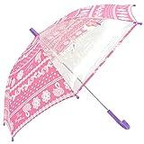 [オレンジボンボン]orangebonbon 傘 子供 女の子 長傘 キッズ 手開き グラスファイバー リボンレース柄 (透明窓/お名前タグ付き) ピンク 55cm