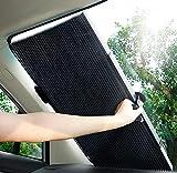 サンシェード 車 遮光 遮熱 自動伸縮 自動折畳 プライバシーを保護する 車 サンシェード-ブラック