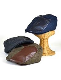 ノーブランド品 ヘリンボーンFレザーコンビハンチング ヤング帽子