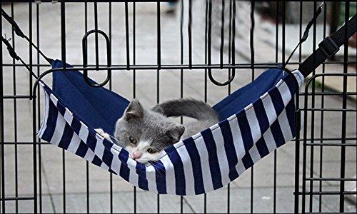 Ninkipet(ニンキペット)キャットハンモック チェア ニャンモック ニャンモック ねこ用ハンモック ペット用品 猫 取り付け簡単 春夏秋冬でも使えるハンモック (ブルーストライプ)