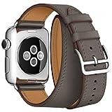Apple Watch バンド ドゥブルトゥール SUNKONG® 本革 二重巻き 5色選べる(42mm, グレー)