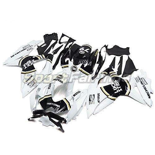 Sportfaiirngs オートバイ 外装パーツセット 適合 スズキ Suzuki GSX-R750 GSX-R600 GSXR 750 600 K8 2008 2009 2010 年 黒白 フルカウルセット