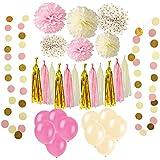 33個 ペーパーフラワー ガーランド バルーン 紙のタッセル カラフルな紙ひも,誕生日 結婚式 休日の装飾,パーティー ホテル 装飾アイテム - ピンク