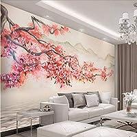 Wuyyii カスタム写真壁紙ステッカー壁画美しい手描きの風景梅テレビの背景壁紙-280X200Cm