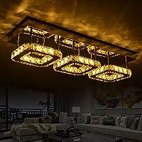 高級ラウンジライト クリスタル 長方形 LED シーリングランプ 暖かな寝室 調光 651cm リモコンカラーパレット付き