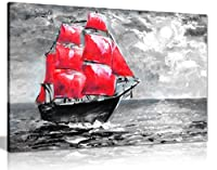 Ship On Oceanペイントブラックホワイトレッドキャンバス壁アート画像印刷 A2 61x41 cm (24x16in) 0615517269149