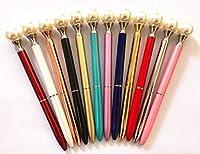 12pcsカラーロイヤルスタイリッシュなゴージャスなエレガントなホワイトパールボールペンペン,ブラックインク