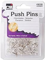 (Twelve 55-Packs, Clear) - Charles Leonard Push Pins, Clear, 55 Pins per Pack, 12 Packs (30155)