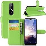 Nokia 6.1 Plus ホルスター シェル フリップ, Moonmini カバー Suit プレミアム 垂直 レザー ポーチ スリーブ 携帯 シェル シェル 〜と カード スロット ホルスター の Nokia 6.1 Plus (Green)