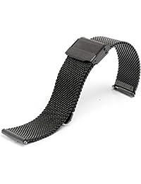 お持ちの時計をお洒落にカスタマイズ♪ ダニエル対応 替えベルト メッシュベルト ステンレス ローズゴールド ベルト幅18mm (ブラック)