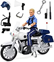 Click N' Play Police On Motorcycle 30cm Inch Action Figure Play Set with Accessories.