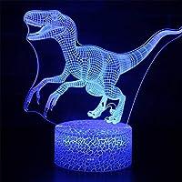 3Dナイトライト/ LEDビジュアルイリュージョンライト、7色変換、USBリモートタッチ、子供部屋の飾りつけ、ベッドルーム、ギフト(恐竜シリーズ)