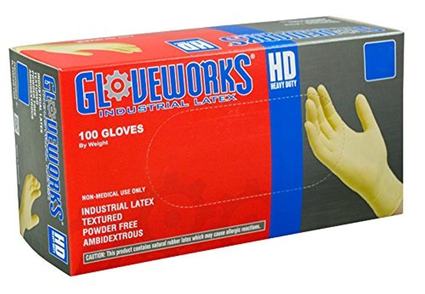電気技師温度計抜け目のないAMMEX - ILHD46100 - Latex Gloves - Gloveworks - Disposable, Powder Free, Industrial, 8 mil, Large, White (Case...