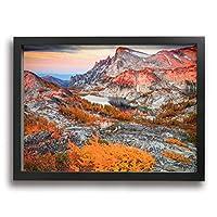 Hao Jinsun Alpine Lakes Sunrise In The Cascade Mountains 絵画 壁ポスター アートパネル 装飾画 壁飾り インテリアアート 木製の枠 モダン 現代の絵 額縁付き 40×30cm