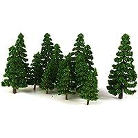【ノーブランド品】1/75-1/200サイズ 鉄道模型 箱庭用 樹木 松 (ダークグリーン) 16本