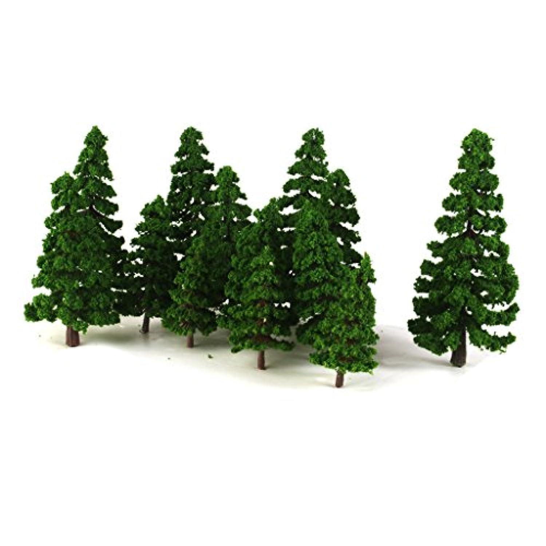 【ノーブランド品】1/75-1/200サイズ 鉄道模型 鉄道風景 箱庭用 モデルツリー 樹木 松 (ダークグリーン) 16本