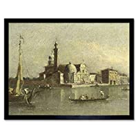 Guardi View Isola Di San Michele Venice Painting Art Print Framed Poster Wall Decor 12x16 inch 見るヴェネツィアペインティングポスター壁デコ