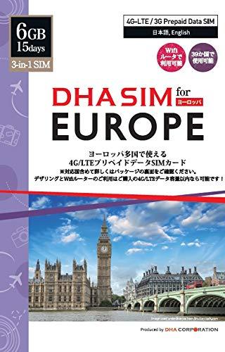 DHA SIM for Europe ヨーロッパ 39か国 プリペイドデータSIM/ 6GB 4G-LTE/3Gデータ / 15日間利用可能/ Wifiルーター・デザリング利用可/3-in-1 SIMカード / データ通信専用 / シムフリー端末のみ対応 / クレジットカード・契約不要 / 基本設定不要 / データローミングオンのみ / マニュアル付 / アイスランド、アイルランド、イギリス、イタリア、エストニア、オーストリア、オランダ、キプロス、ギリシャ、グアドループ、クロアチア、ジブラルタル、スイス、スウェーデン、スペイン、スロバキア、スロベニア、チェコ共和国、デンマーク、ドイツ、ノルウェー、ハンガリー、フィンランド、フランス、フランス領ギアナ、ブルガリア、ベルギー、ポーランド、ポルトガル、マヨット、マルタ、マルティニーク、ラトビア、リトアニア、リヒテンシュタイン、ルーマニア、ルクセンブルク、レユニオン島、ロシア