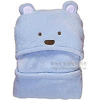【ノーブランド品】赤ちゃん パイル フカフカ クマさん おくるみ (ブルー)