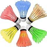 [6 Pack] Newdora Colorful LED Badminton Set Shuttlecock Dark Night Glow Birdies Lighting for Outdoor / Indoor Sports Activities Badminton