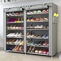 靴箱_6層大容量防塵靴キャビネット、多機能収納ラック(紫、ピンク、グレー、ブラウン)を組み立てた120 * 30 * 110センチメートル