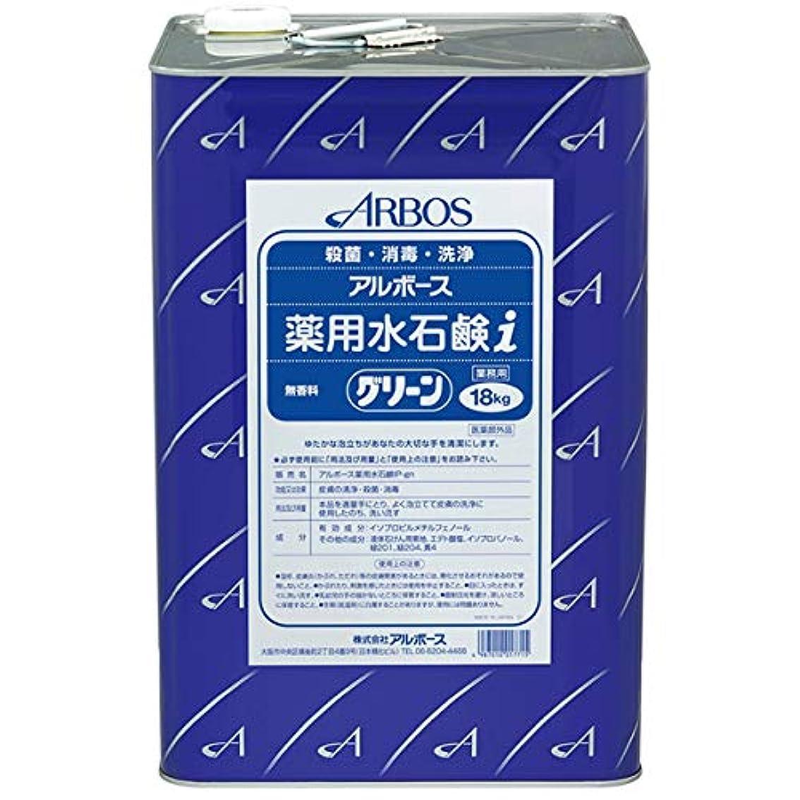 セメント指標非効率的な【清潔キレイ館】アルボース薬用水石鹸グリーンi(18L)