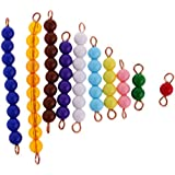 Flameer Pack of 10pcs Montessori Maths Material 1-10 Number Count Beads Bar Kids Toy
