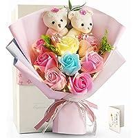 FAUHAL LEDライト付き(カラフル) 敬老の日 プレゼント 花束クマのぬいぐるみとバラの花束 造花 薔薇ブーケ フレグランス ソープフラワー ぬいぐるみ花束 プレゼント 石鹸花 恋人に 彼女に デート用 誕生日 母の日 教師の日 記念日 お見舞い 発表会 還暦 ボックスやメッセージカード付 (最新なデザイン))