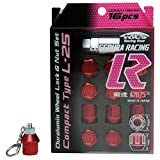 【赤レッドP1.5】キーホルダー付 KYO-EI 協永産業 キックス アルミ系 カラー ホイールロックナットセット 16個セット