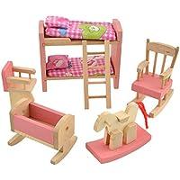 Vktech 子供用 アファミリー 木製 家具 お世話パーツ 知育玩具 (2段ベッド 椅子 馬 セット)