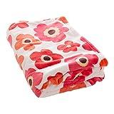 毛布 プレミアムマイクロファイバー 洗える 静電気防止 とろける肌触り 花柄 シングル レッド mofua fondan フォンダン